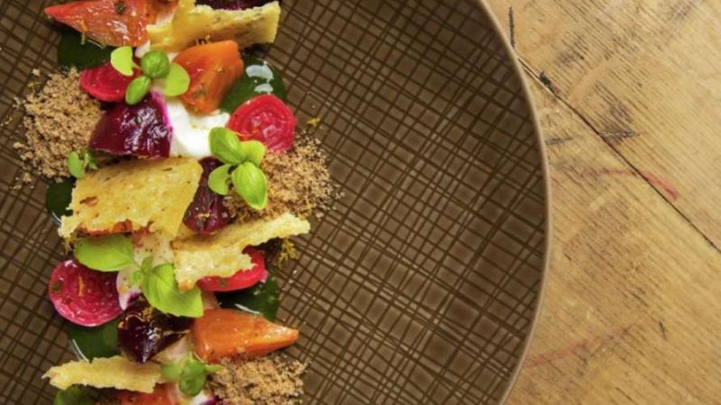 roasted beet and fruit salad