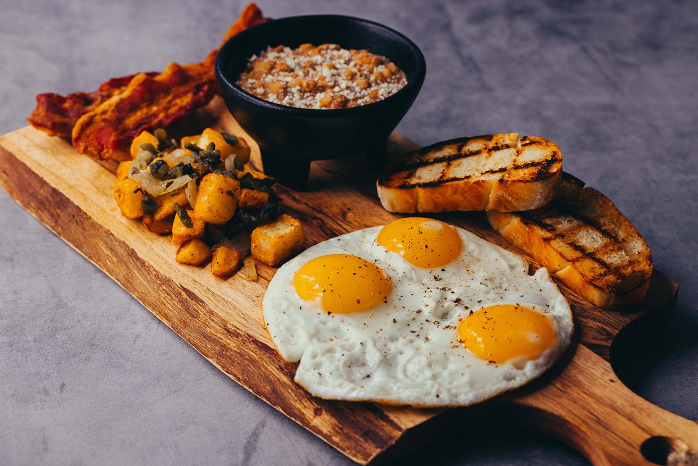 Casa Calavera brunch on a smartly dressed wooden serving plate