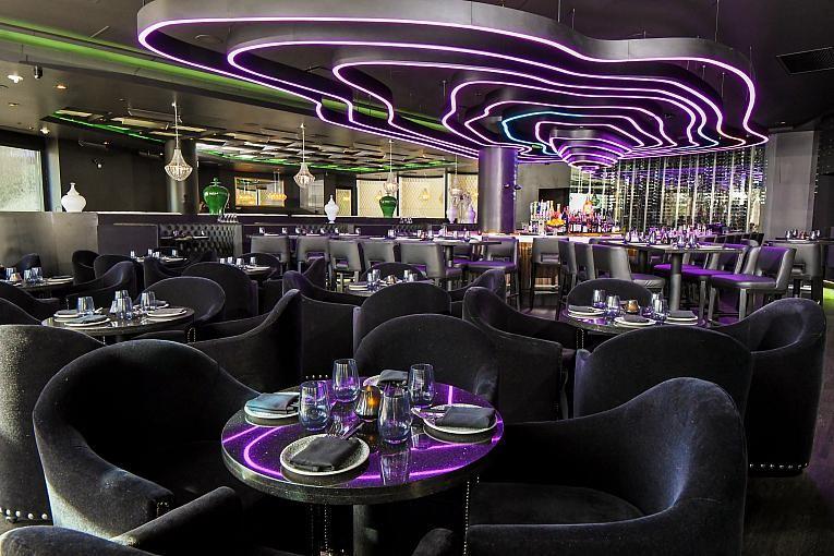 Jing's seating area has amazing neon lights